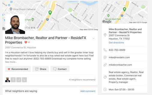 Nextdoor Business Page profile