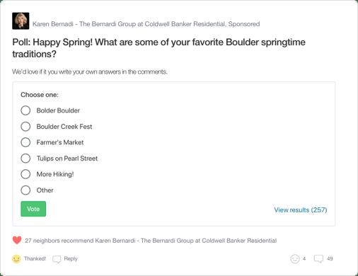 Nextdoor Neighborhood Sponsor Post Example from Real Estate Agent