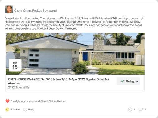 Nextdoor Neighborhood Sponsorship Real Estate Agent Open House Event Example