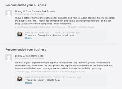 Adam Mirkes Nextdoor Business Page Recommendations