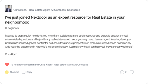 Nextdoor Real Estate Agent Local Expert Introduction Post