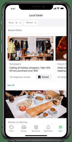 Your deal is included in Nextdoor's Local Deals section.