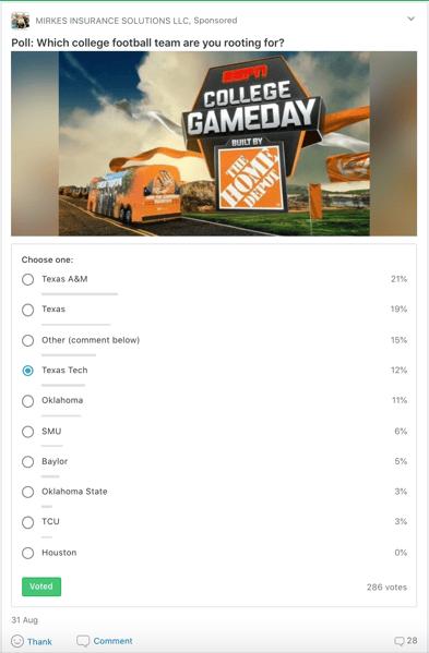 Adam Mirkes' poll as a Neighborhood Sponsor