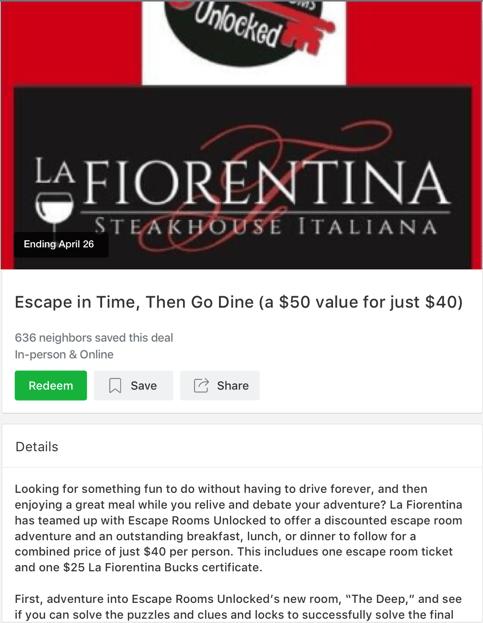 La Fiorentina Steakhouse Local Deal on Nextdoor