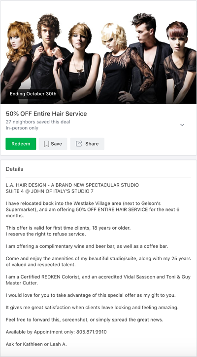 Local Deal featuring 50% of all of the salon's hair services.