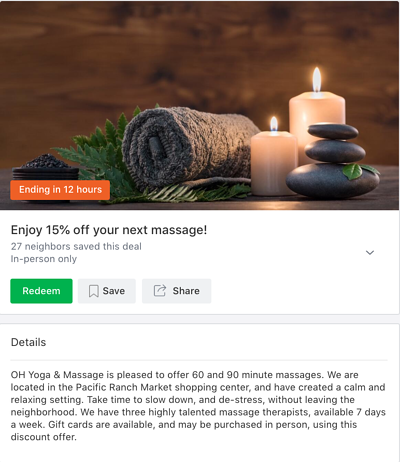 Local Deal featuring 15% customers' next massage