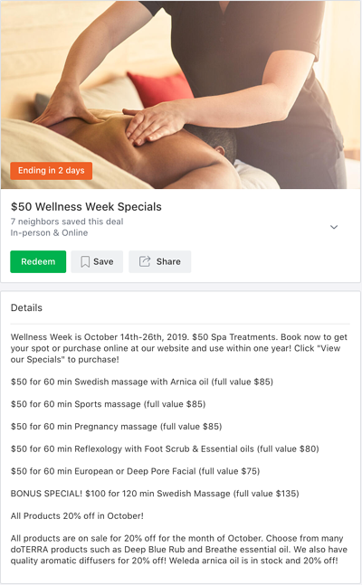 Local Deal screenshot featuring massage discounts during Wellness Week