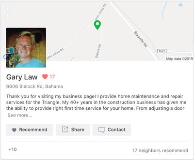 Neighbor for Hire Nextdoor Business Page