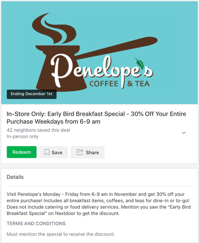 Local Deal featuring a special discount for early bird breakfast diners