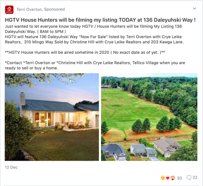 Screenshot of real estate agent post on Nextdoor about a local home being featured on HGTV.