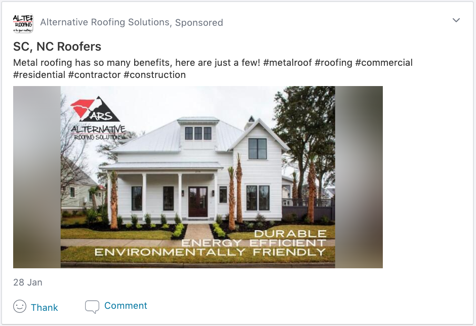 Screenshot from a Neighborhood Sponsor about metal roofing