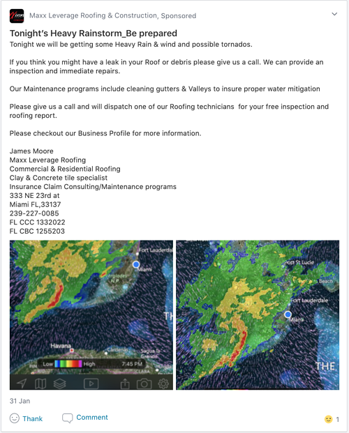 Screenshot of a Neighborhood Sponsor roofer about the weather