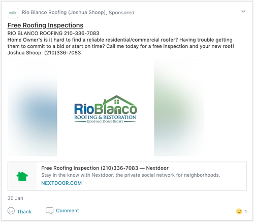 Screenshot of a Neighborhood Sponsor roofer offering free roofing inspections