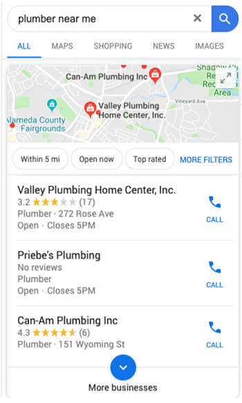 """Screenshot that shows search results for when someone searched """"plumber near me""""."""