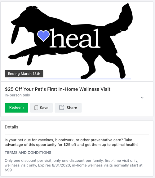 Screenshot of a Local Deal from a veterinarian.