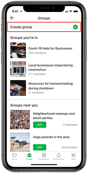 Local businesses can create a group on Nextdoor